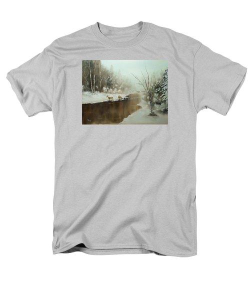 Men's T-Shirt  (Regular Fit) featuring the painting Winter Deer Run by Chris Fraser