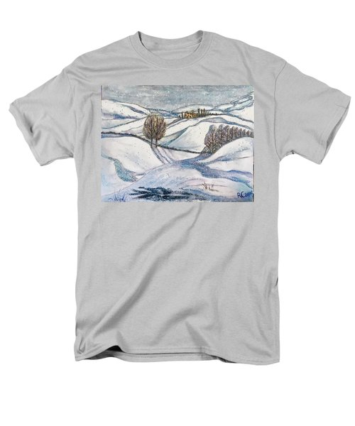 Men's T-Shirt  (Regular Fit) featuring the painting Winter Tranquility by Rae Chichilnitsky