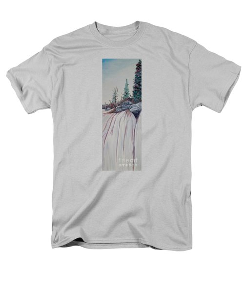 Men's T-Shirt  (Regular Fit) featuring the painting Winter Waterfall by Marilyn  McNish