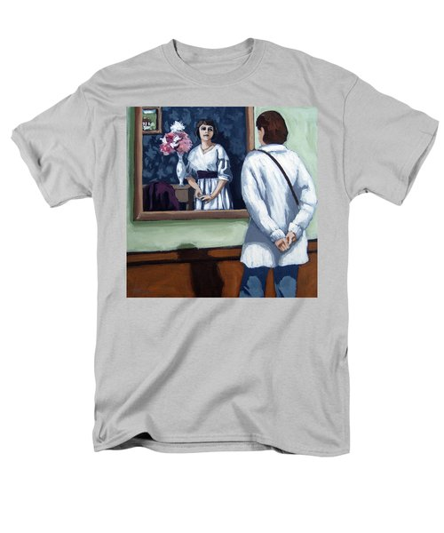 Men's T-Shirt  (Regular Fit) featuring the painting Woman At Art Museum Figurative Painting by Linda Apple