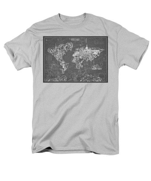 World Map Blueprint 5 Men's T-Shirt  (Regular Fit) by Bekim Art