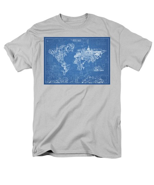 World Map Blueprint Men's T-Shirt  (Regular Fit) by Bekim Art