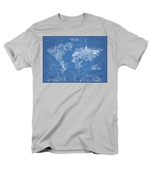 World Map Blueprint Men's T-Shirt  (Regular Fit) by Bekim Art