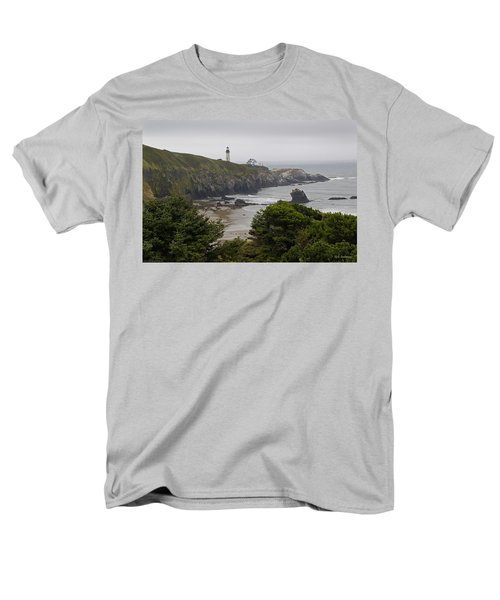 Yaquina Head Lighthouse View Men's T-Shirt  (Regular Fit) by Mick Anderson