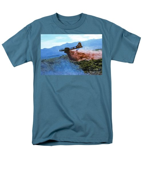 Men's T-Shirt  (Regular Fit) featuring the photograph  B-17 Air Tanker Dropping Fire Retardant by Bill Gabbert