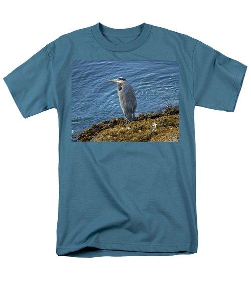 Men's T-Shirt  (Regular Fit) featuring the photograph  Blue Heron On A Rock by Eti Reid