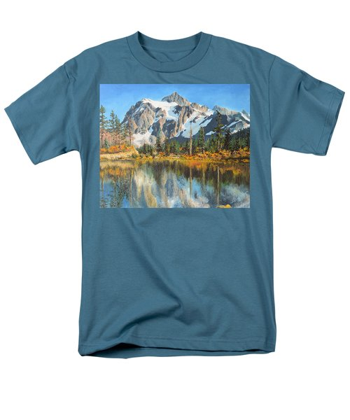 Men's T-Shirt  (Regular Fit) featuring the painting Fall Reflections - Cascade Mountains by Mary Ellen Anderson