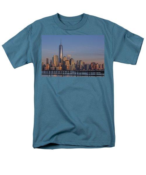 Lower Manhattan Skyline Men's T-Shirt  (Regular Fit) by Susan Candelario