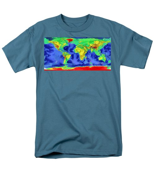 Men's T-Shirt  (Regular Fit) featuring the painting World Map Art by Georgi Dimitrov