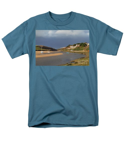 Men's T-Shirt  (Regular Fit) featuring the photograph Storm Approaches The Gannel Estuary Newquay Cornwall by Nicholas Burningham