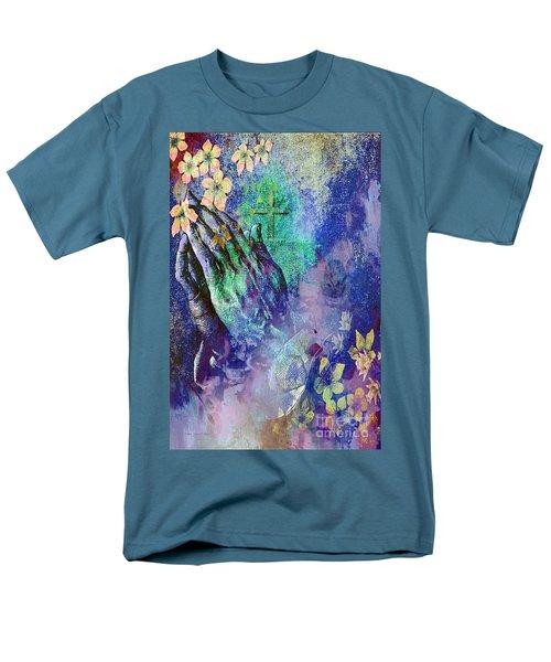Praying Hands Flowers And Cross Men's T-Shirt  (Regular Fit)