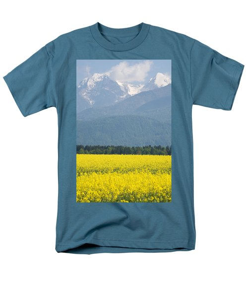 rapeseed field in Brnik with Kamnik Alps in the background Men's T-Shirt  (Regular Fit) by Ian Middleton
