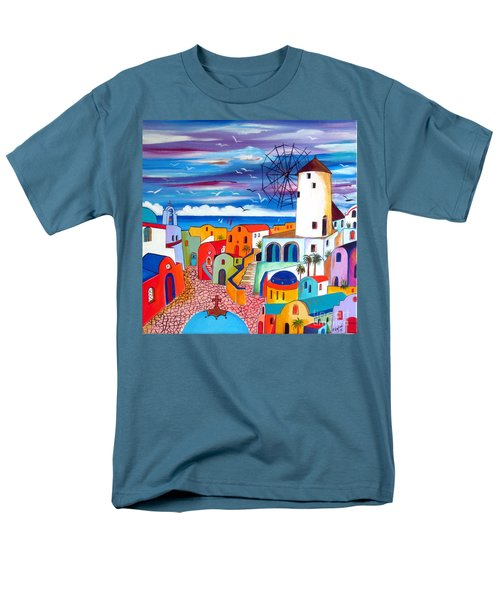 A Greek Mill And The Colors Of Oia Santorini  Men's T-Shirt  (Regular Fit)