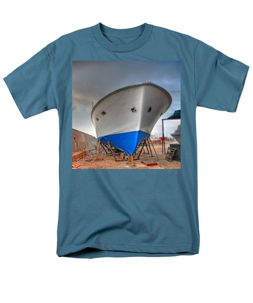 Men's T-Shirt  (Regular Fit) featuring the photograph a resting boat in Jaffa port by Ron Shoshani