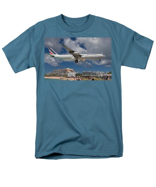 Air France Landing At St. Maarten Men's T-Shirt  (Regular Fit) by David Gleeson