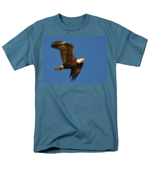 Men's T-Shirt  (Regular Fit) featuring the photograph American Bald Eagle Close-ups Over Santa Rosa Sound With Blue Skies by Jeff at JSJ Photography
