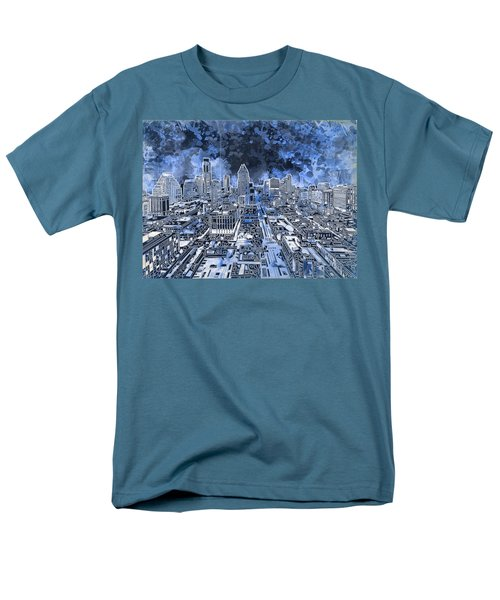 Austin Texas Abstract Panorama 5 Men's T-Shirt  (Regular Fit) by Bekim Art