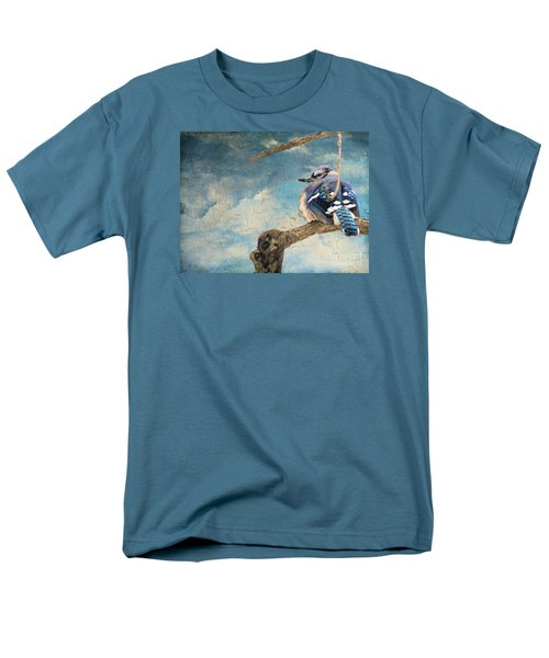 Baby Blue Jay In Winter Men's T-Shirt  (Regular Fit) by Janette Boyd