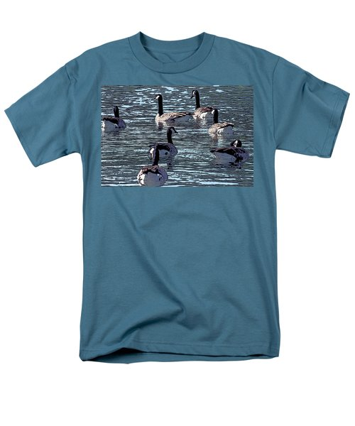 Men's T-Shirt  (Regular Fit) featuring the digital art Big Spring Goose Art I   by Lesa Fine