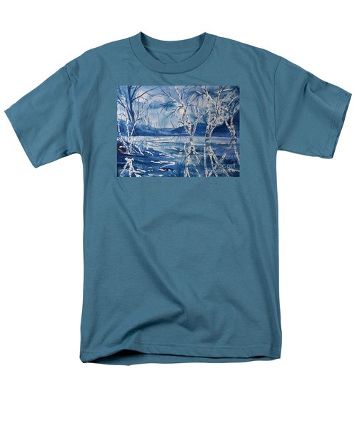 Birches In Blue Men's T-Shirt  (Regular Fit) by Ellen Levinson