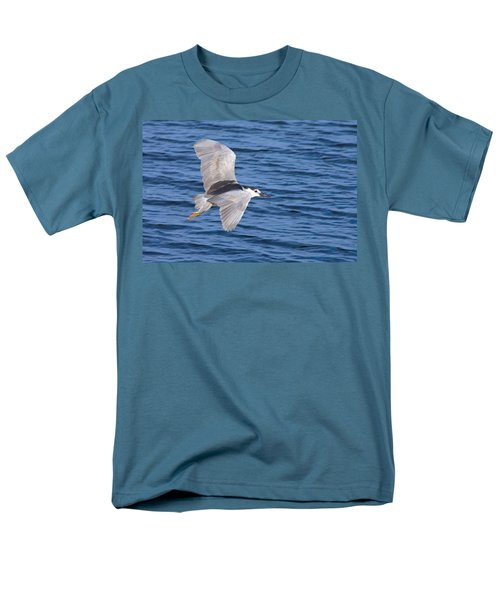 Men's T-Shirt  (Regular Fit) featuring the photograph Black Crowned Night Heron In Flight by Greg Graham