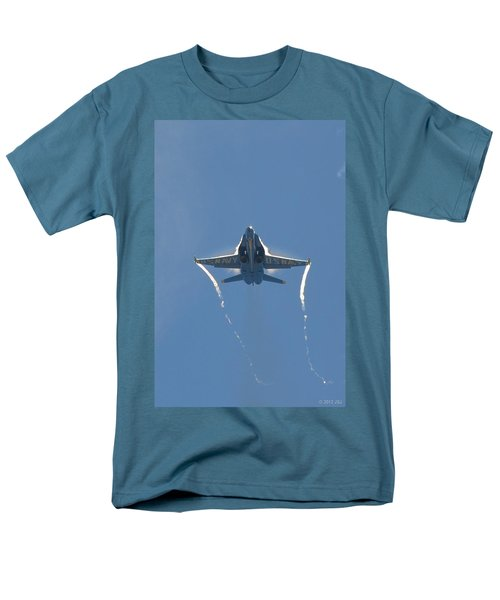 Men's T-Shirt  (Regular Fit) featuring the photograph Blue Angels Ghost Appears Head-on Over Pensacola Beach by Jeff at JSJ Photography