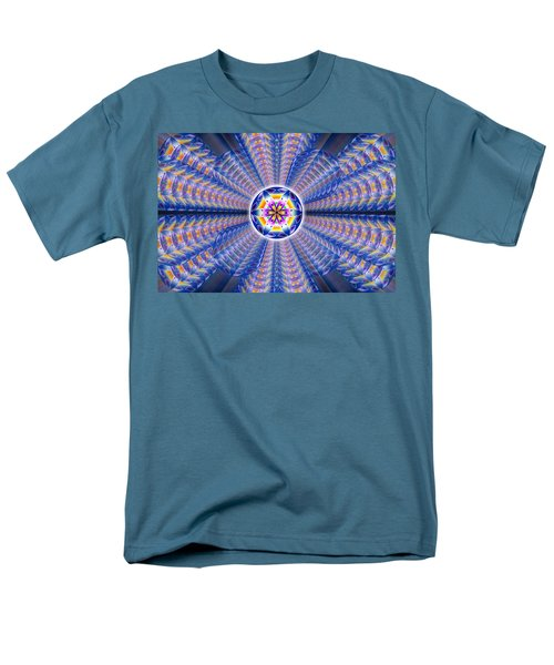 Men's T-Shirt  (Regular Fit) featuring the drawing Blue Crystal Consciousness by Derek Gedney