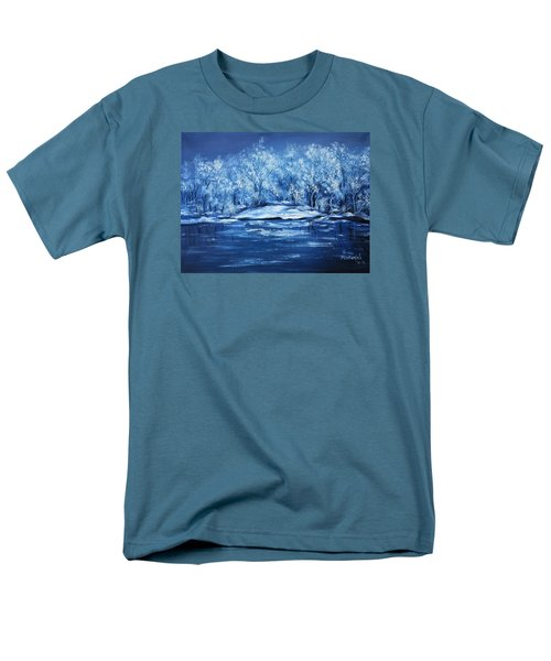 Men's T-Shirt  (Regular Fit) featuring the painting Blue Silence by Vesna Martinjak