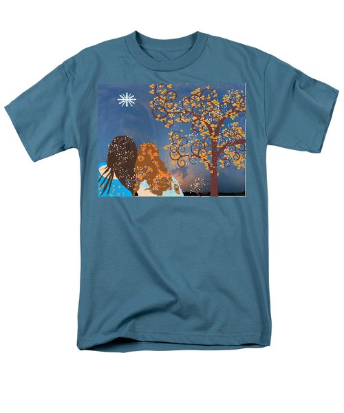Men's T-Shirt  (Regular Fit) featuring the digital art Blue Swirl Girls by Kim Prowse