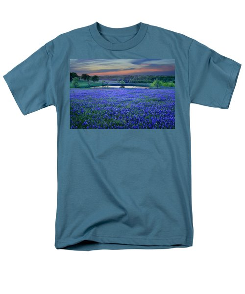 Men's T-Shirt  (Regular Fit) featuring the photograph Bluebonnet Lake Vista Texas Sunset - Wildflowers Landscape Flowers Pond by Jon Holiday