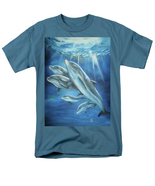 Men's T-Shirt  (Regular Fit) featuring the painting Bottlenose Dolphins by Thomas J Herring