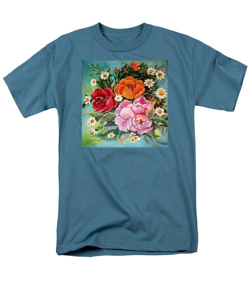 Men's T-Shirt  (Regular Fit) featuring the painting Bunch Of Flowers by Yolanda Rodriguez