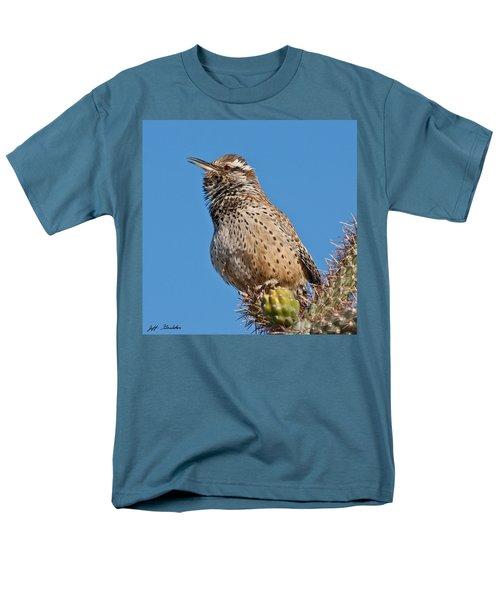 Cactus Wren Singing Men's T-Shirt  (Regular Fit) by Jeff Goulden