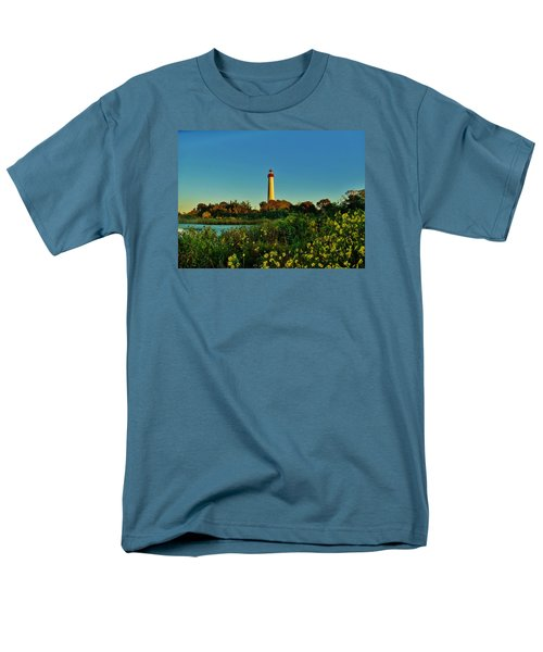 Cape May Lighthouse Above The Flowers Men's T-Shirt  (Regular Fit) by Ed Sweeney