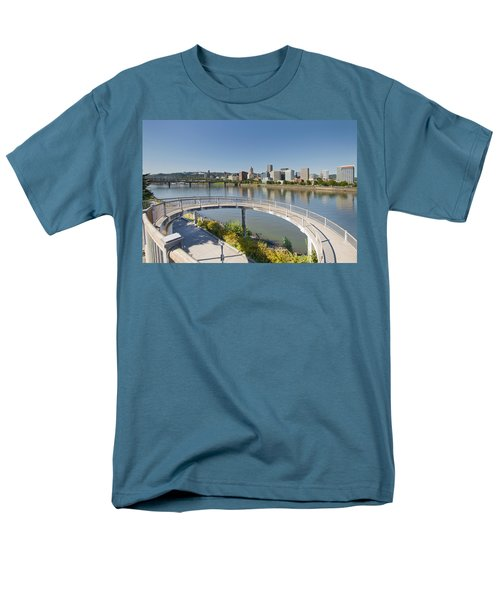 Men's T-Shirt  (Regular Fit) featuring the photograph Circular Walkway On Portland Eastbank Esplanade by JPLDesigns