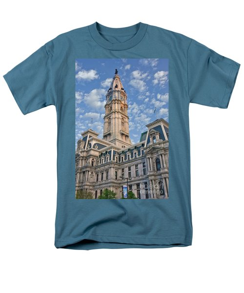 City Hall Clock Tower Downtown Phila Pa Men's T-Shirt  (Regular Fit) by David Zanzinger