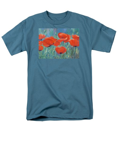 Colorful Flowers Red Poppies Beautiful Floral Art Men's T-Shirt  (Regular Fit) by Elizabeth Sawyer