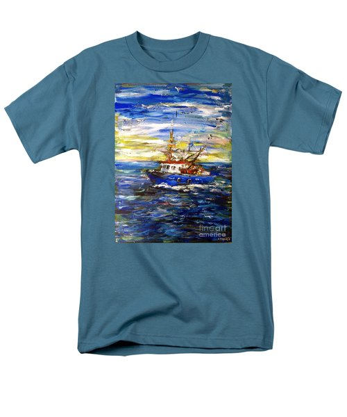 Men's T-Shirt  (Regular Fit) featuring the painting Coming Back by Arturas Slapsys