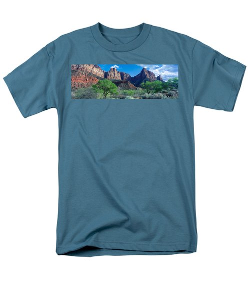 Cottonwood Trees And The Watchman, Zion Men's T-Shirt  (Regular Fit) by Panoramic Images