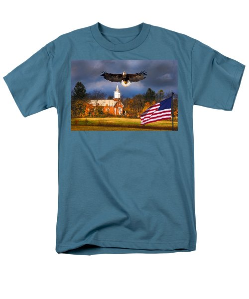 country Eagle Church Flag Patriotic Men's T-Shirt  (Regular Fit) by Randall Branham