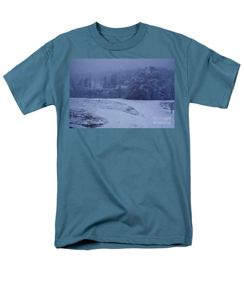 Men's T-Shirt  (Regular Fit) featuring the photograph Country Snowstorm Landscape Art Prints by Valerie Garner