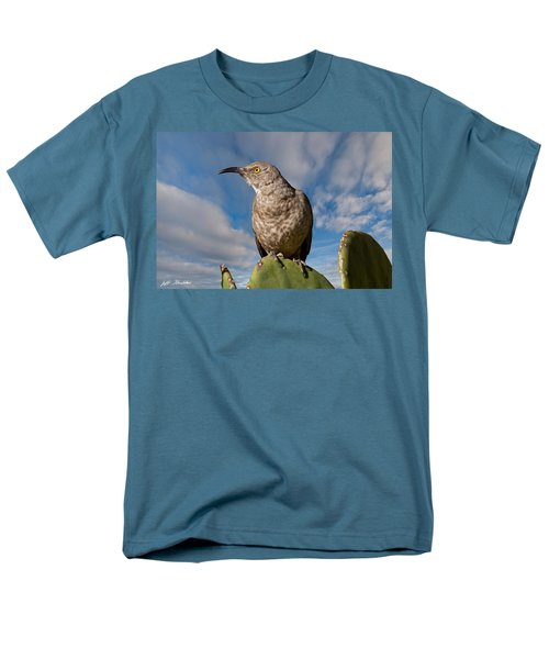 Curve-billed Thrasher On A Prickly Pear Cactus Men's T-Shirt  (Regular Fit) by Jeff Goulden