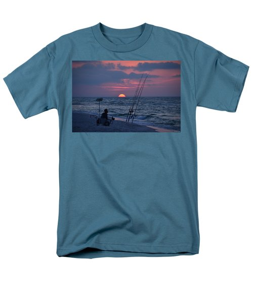 Men's T-Shirt  (Regular Fit) featuring the photograph Daybreak On Navarre Beach With Deng The Fisherman by Jeff at JSJ Photography