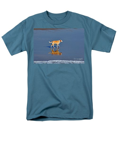 Dog On Water Mirror Men's T-Shirt  (Regular Fit) by Susan Wiedmann