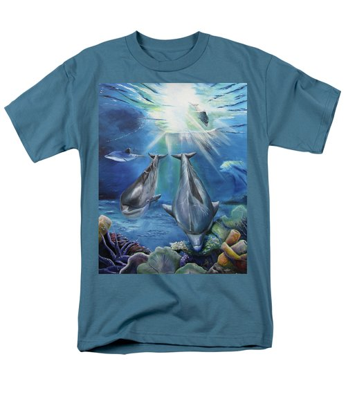 Men's T-Shirt  (Regular Fit) featuring the painting Dolphins Playing by Thomas J Herring