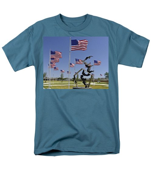 Men's T-Shirt  (Regular Fit) featuring the photograph Doves And Flags by Allen Sheffield
