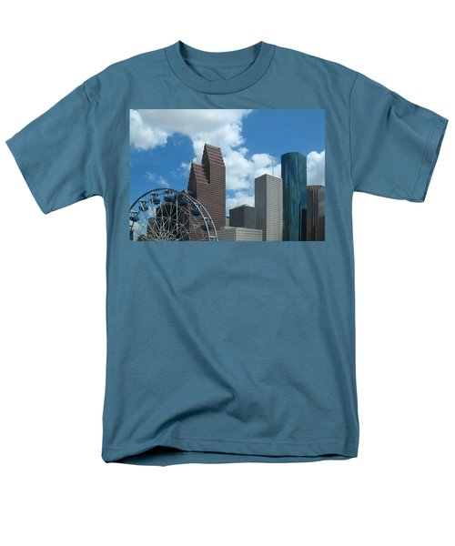 Men's T-Shirt  (Regular Fit) featuring the photograph Downtown Houston With Ferris Wheel by Connie Fox