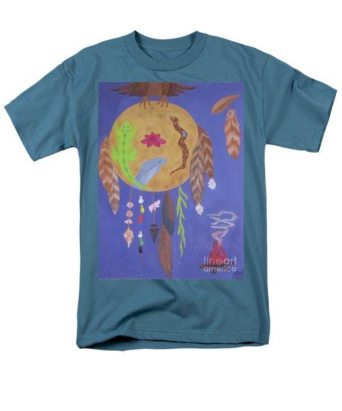 Men's T-Shirt  (Regular Fit) featuring the painting Dream Spirit Shield by Ellen Levinson