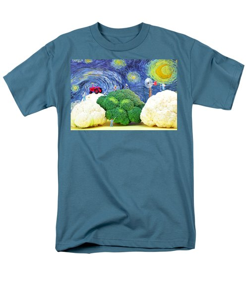 Farming On Broccoli And Cauliflower Under Starry Night Men's T-Shirt  (Regular Fit) by Paul Ge