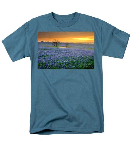 Field Of Dreams Texas Sunset - Texas Bluebonnet Wildflowers Landscape Flowers  Men's T-Shirt  (Regular Fit) by Jon Holiday